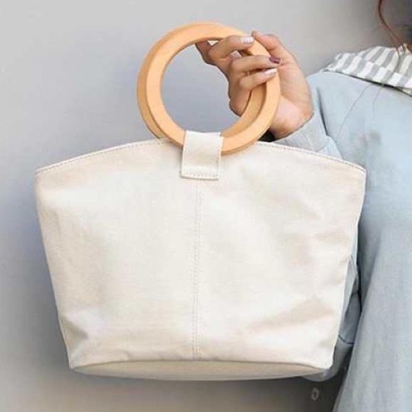 ebd7dbbfacf Round Wood Handle Canvas Medium Tote Bag Purse NEW Boutique